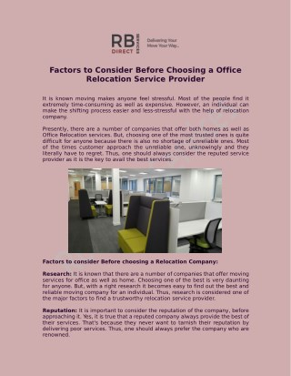 Factors to Consider Before Choosing a Office Relocation Service Provider