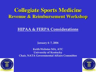 Collegiate Sports Medicine Revenue & Reimbursement Workshop
