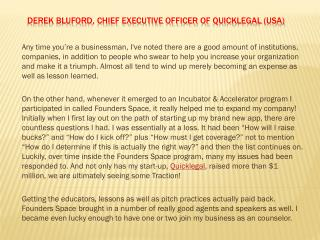 Derek Bluford, Chief executive officer of Quicklegal (USA)