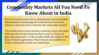 All You Need To Know About Commodity Markets in India