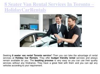 8 Seater Van Rental Services in Toronto
