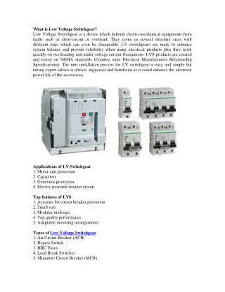 Low Voltage Switchgear Electrical Products