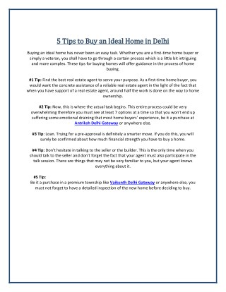 5 Tips to Buy an Ideal Home in Delhi