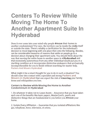 Centers To Review While Moving The Home To Another Apartment Suite In Hyderabad