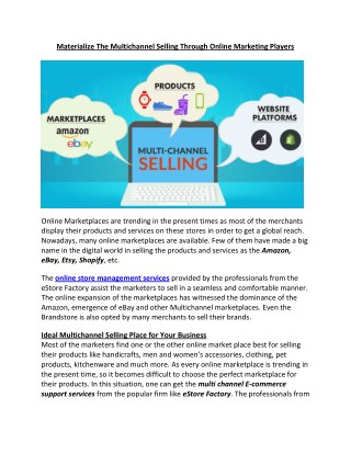 Materialize The Multichannel Selling Through Online Marketing Players