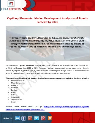 Capillary Rheometer Market Development Analysis and Trends Forecast by 2022