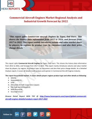 Commercial Aircraft Engines Market Regional Analysis and Industrial Growth Forecast by 2022