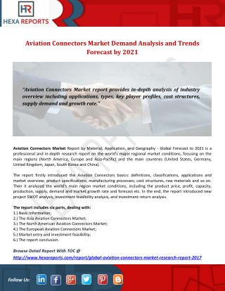 Aviation Connectors Market Demand Analysis and Trends Forecast by 2021