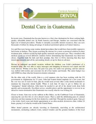 Dental Care in Guatemala