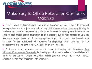 Make Easy to Office Relocation Company Malaysia | FLY Star Movers