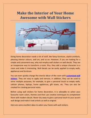 Make the Interior of Your Home Awesome with Wall Stickers