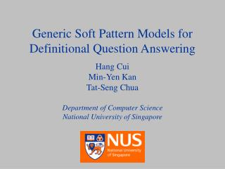 Generic Soft Pattern Models for Definitional Question Answering