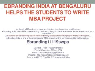 eBranding India at Bengaluru helps the students to write MBA Project