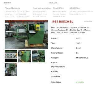 Buy Used 1985 BUSCH BL Machine
