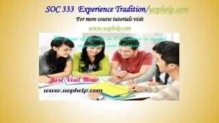 SOC 333  Experience Tradition/uophelp.com