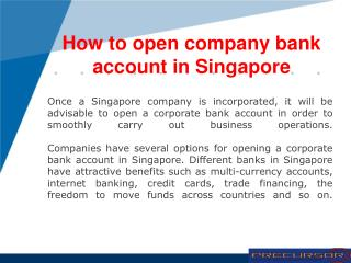 How to open company bank account in Singapore