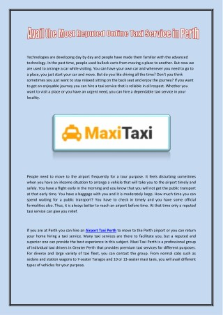 Airport Taxi Perth