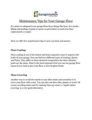Maintenance Tips for Your Garage Floor