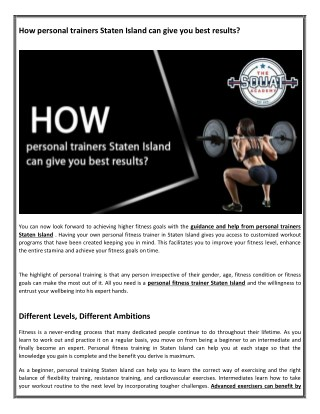 How personal trainers Staten Island can give you best results?