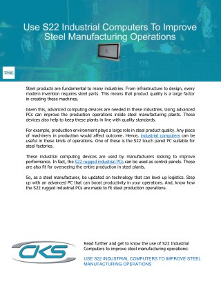 Use S22 Industrial Computers To Improve Steel Manufacturing Operations