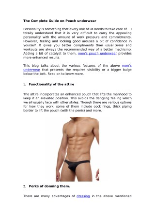 The Complete Guide on Pouch underwear