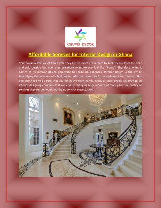 Affordable Services for Interior Design in Ghana