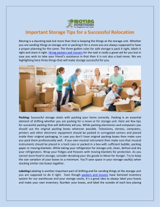 Important Storage Tips for a Successful Relocation