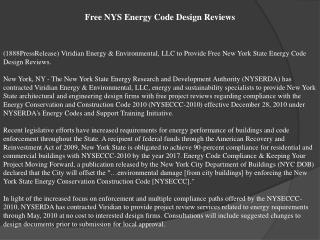 Free NYS Energy Code Design Reviews