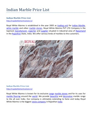 Indian Marble Price List