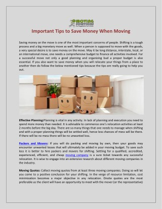 Important Tips to Save Money When Moving