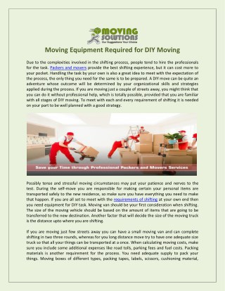 Moving Equipment Required for DIY Moving