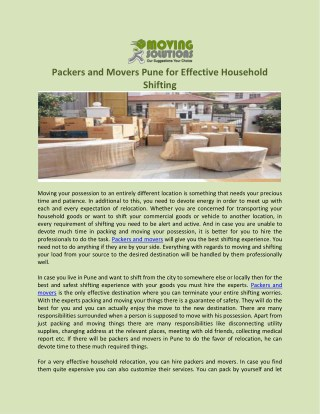 Packers and Movers Pune for Effective Household Shifting