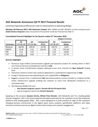 AGC Networks Announces Q3 FY 2017 Financial Results