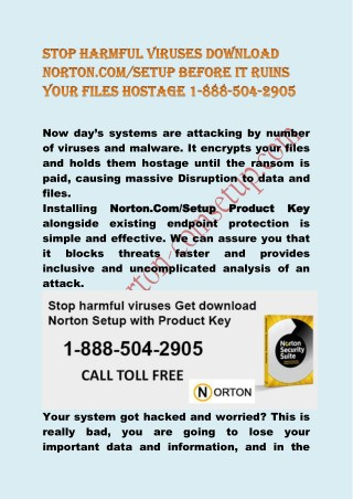 Stop harmful viruses download Norton.com/setup product key before it ruins your files hostage 1 888-504-2905