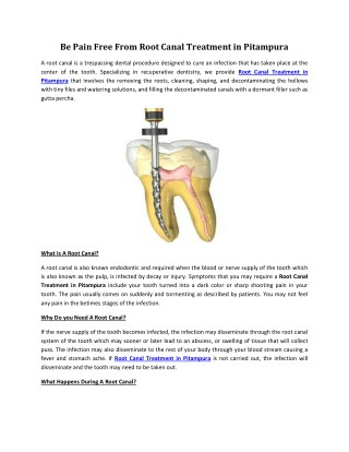 Be Pain Free From Root Canal Treatment in Pitampura