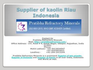 Supplier of kaolin Riau Indonesia