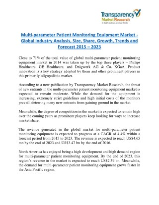Multi-parameter Patient Monitoring Equipment Market - Positive long-term growth outlook 2023