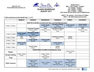 Aug 2017 class schedule