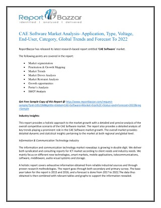 Cae software Market Trends - Size, Share, Growth, Forecast, Segment and Application Analysis To 2017