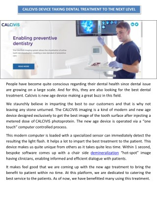 Calcivis Device Taking Dental Treatment to the Next Level