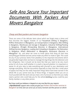 Safe And Secure Your Important Documents With Packers And Movers Bangalore