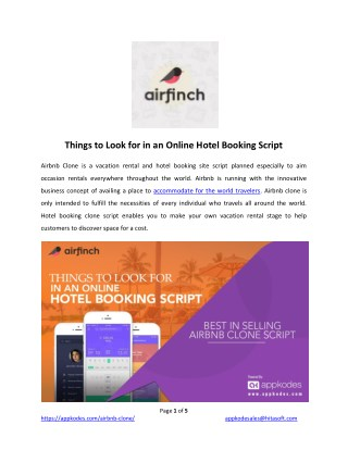 Things to Look for in an Online Hotel Booking Script