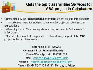 top class writing Services for MBA project in Coimbatore