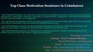 Top Class Motivation Seminars in Coimbatore