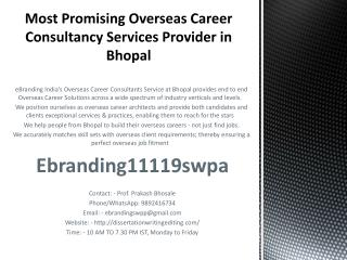 Most Promising Overseas Career Consultancy Services Provider in Bhopal