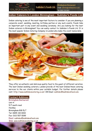 Asian Indian Caterers in London Birmingham-Sukhdev's Foods Ltd