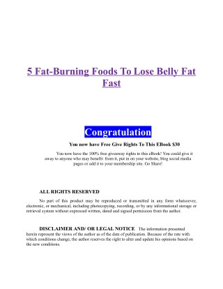 5 Fat burning foods to lose belly fat fast