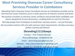 Most Promising Overseas Career Consultancy Services Provider in Coimbatore
