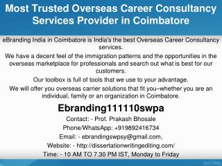 Most Trusted Overseas Career Consultancy Services Provider in Coimbatore