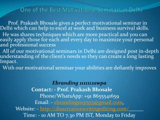 One of the Best Motivational Seminars in Delhi